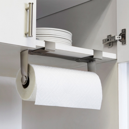 Towel paper holder for cupboard and shelf