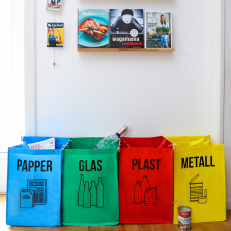Sorting glass, paper, metal and plastic