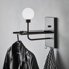 Wall lamp with built-in hanger and USB port