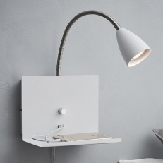 Wall lamp with shelf and USB port