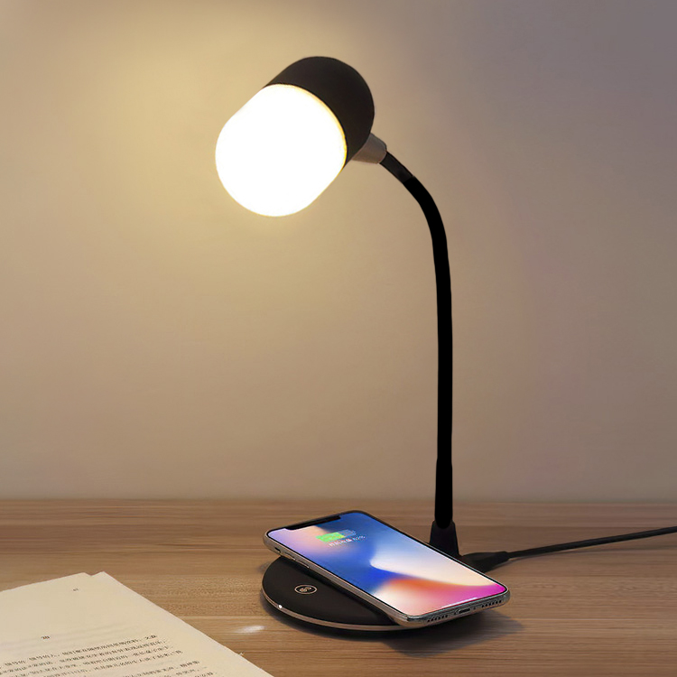 Table lamp with speaker & Qi charging, Black